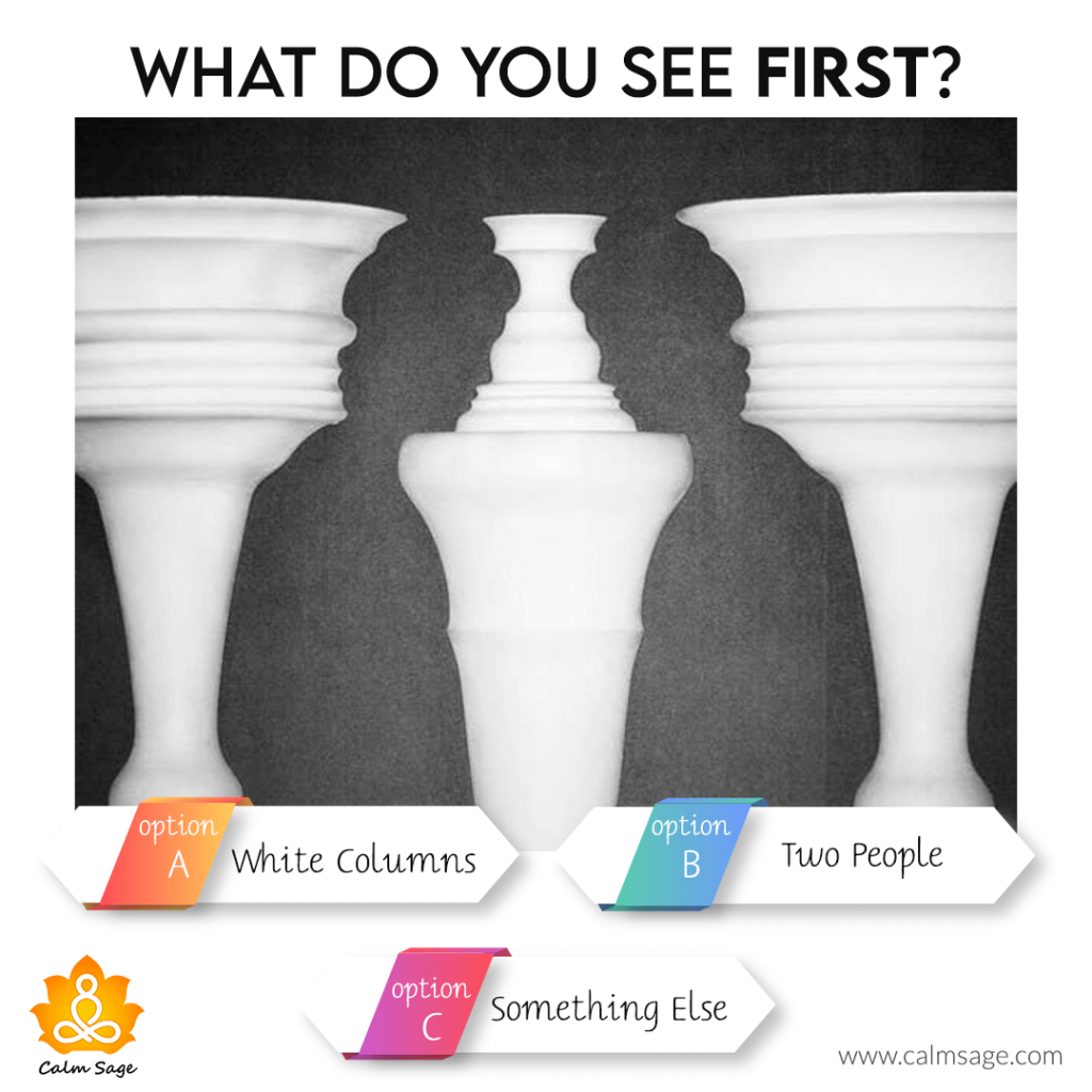 what do you see first white column, two people or something else