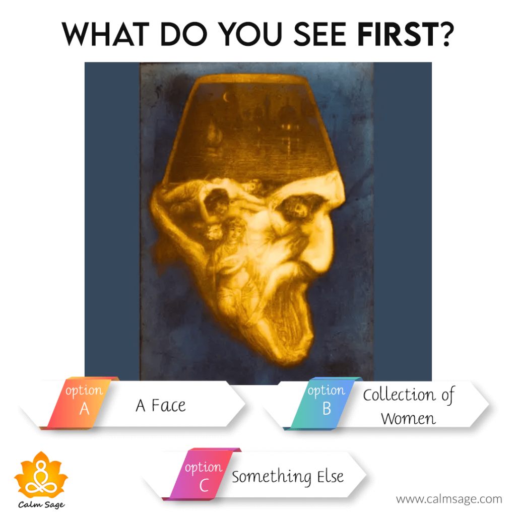 what do you see first a face, women collection or something else