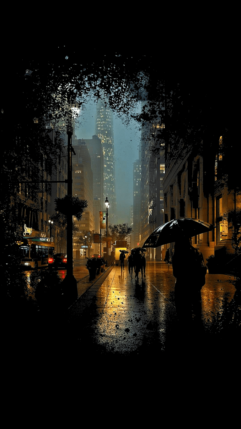 A Rainy Evening on A City Street, relaxing background