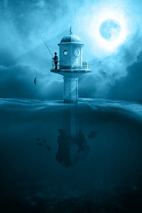 Fishing Atop A Building Immersed In water a calm image
