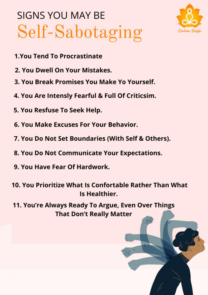 Sign Checklist of Self-Sabotaging