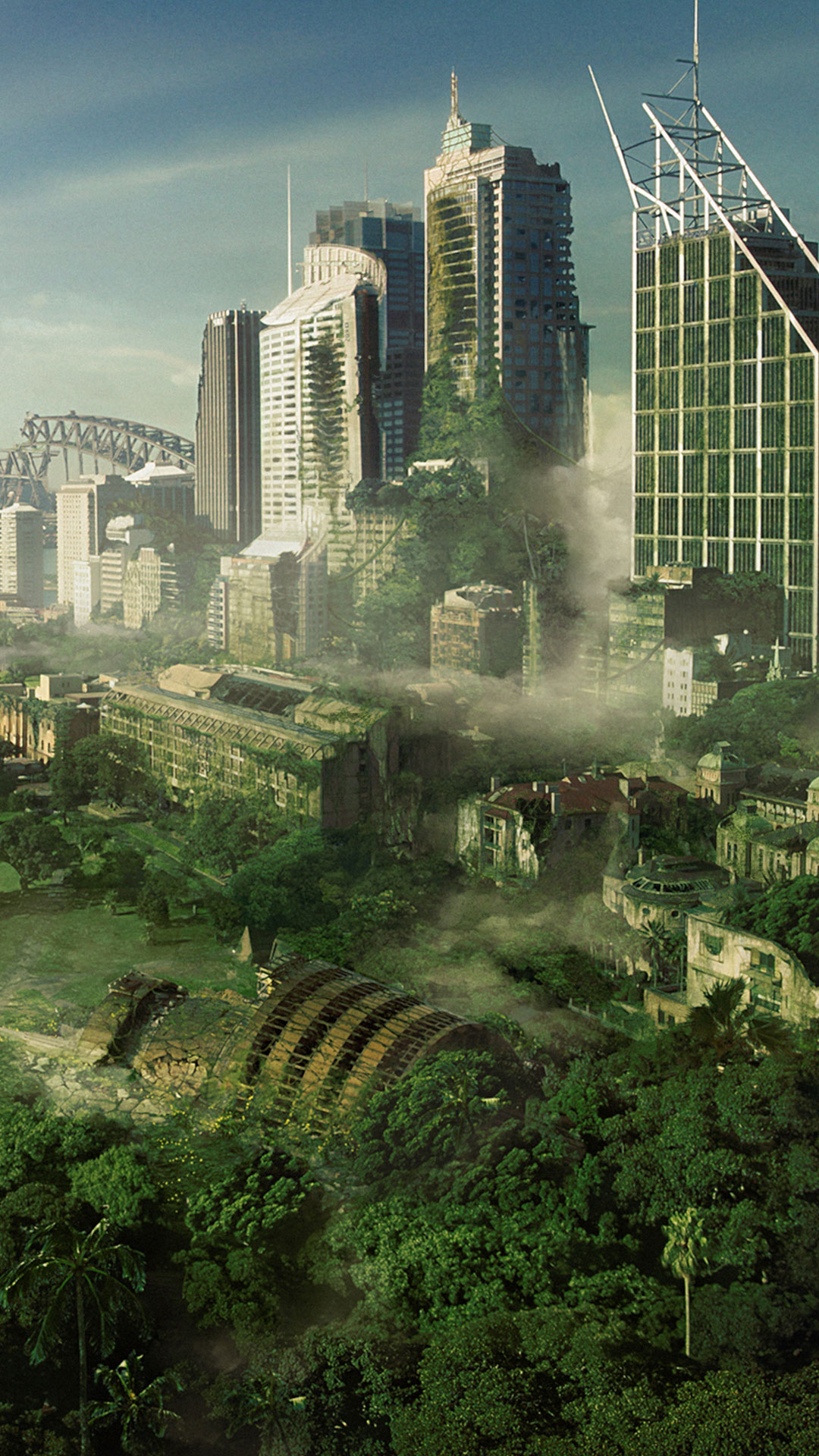 Futuristic Matte Painting Of A City - a calm iPhone wallpaper