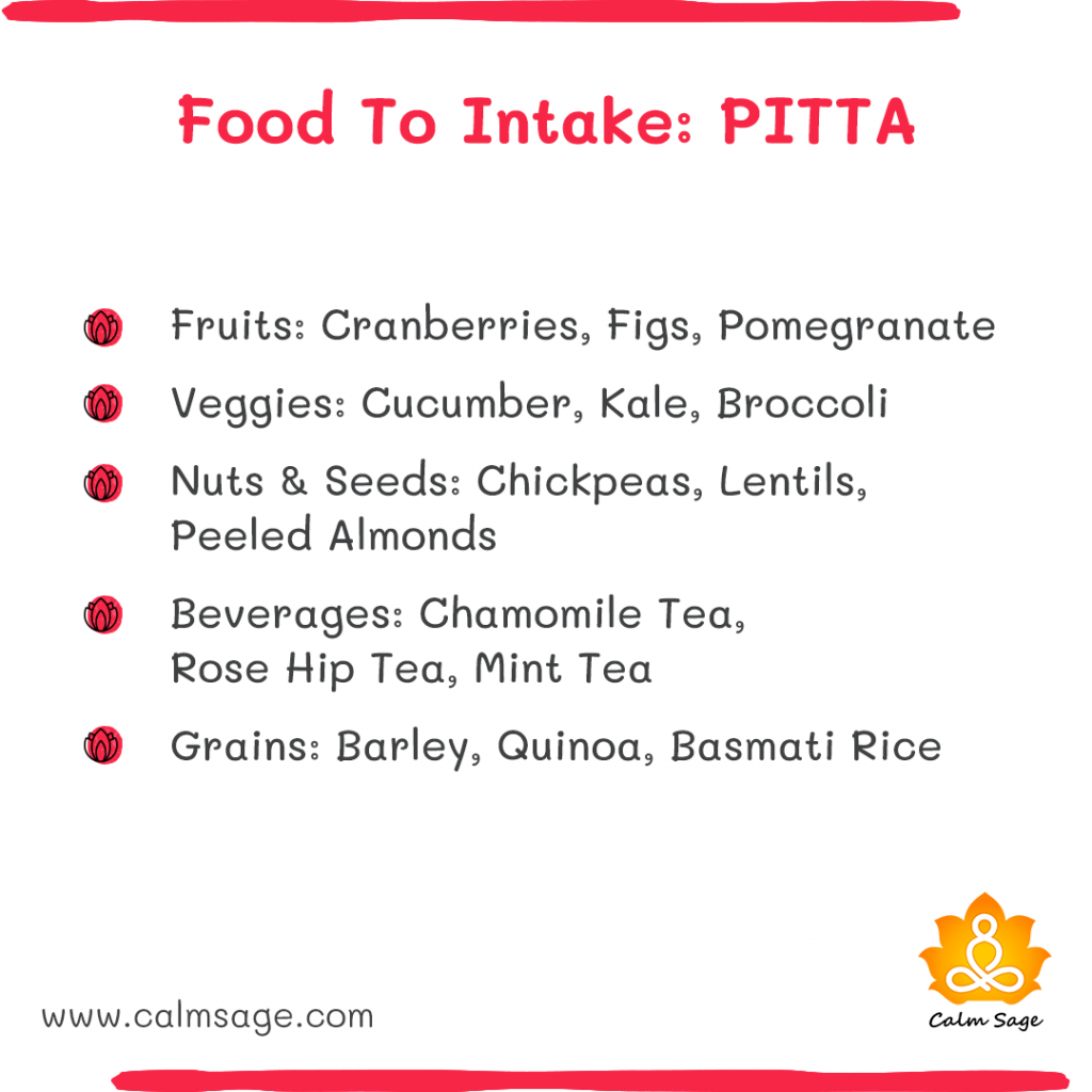 foods to intake pitta