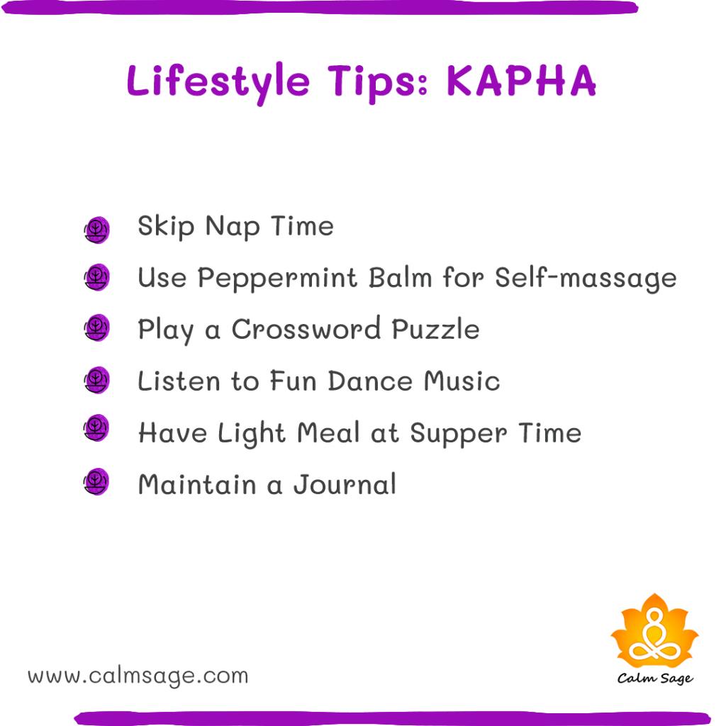 lifestyle tips kapha