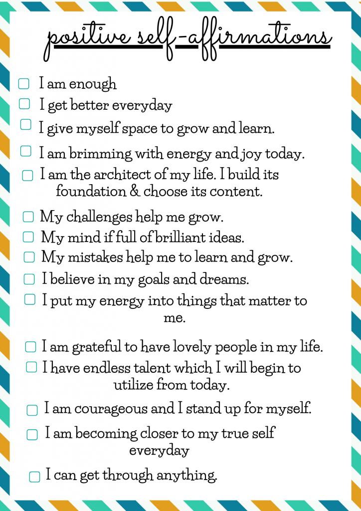 positive self affirmaton for yourself list