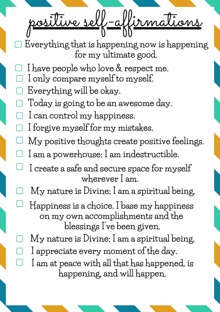 positive self affirmaton list