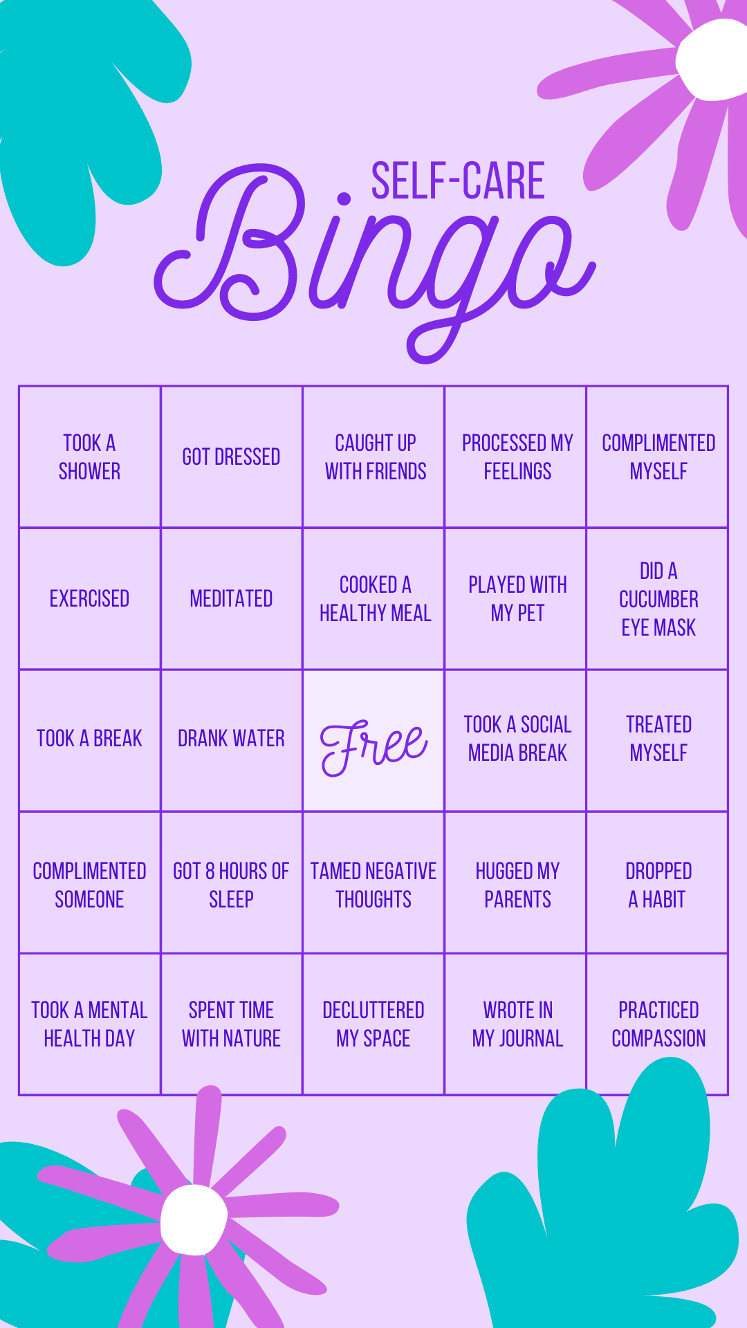 self care bingo by calmsage