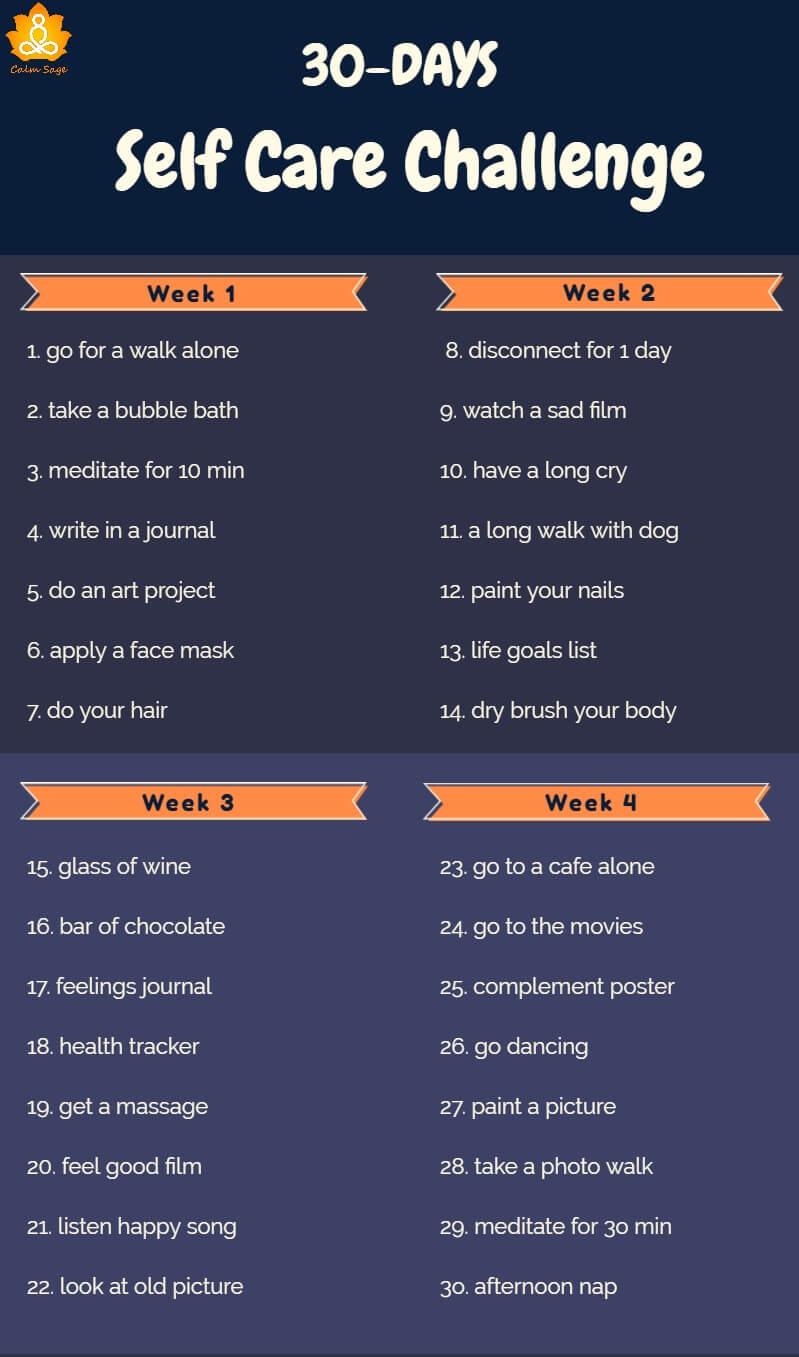 30 days self care challenge