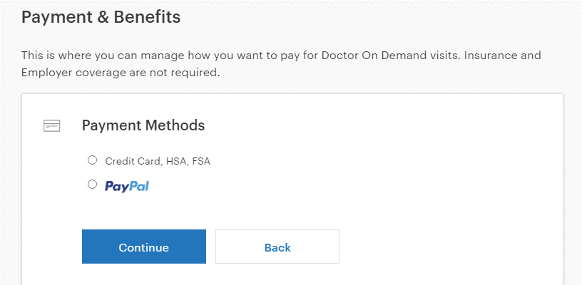 Doctor on Demand payments and benefits