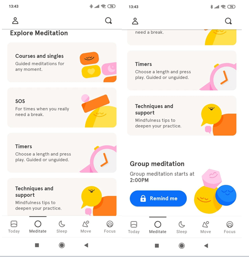 headspace Meditate section